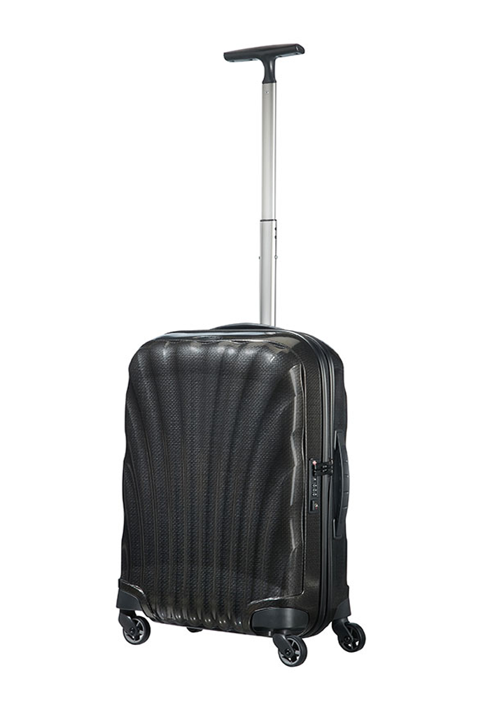 a 55cm Black Samsonite Cosmolite Suitcase