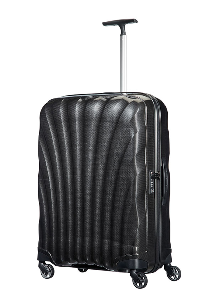 a Black 75cm Samsonite Cosmolite Suitcase