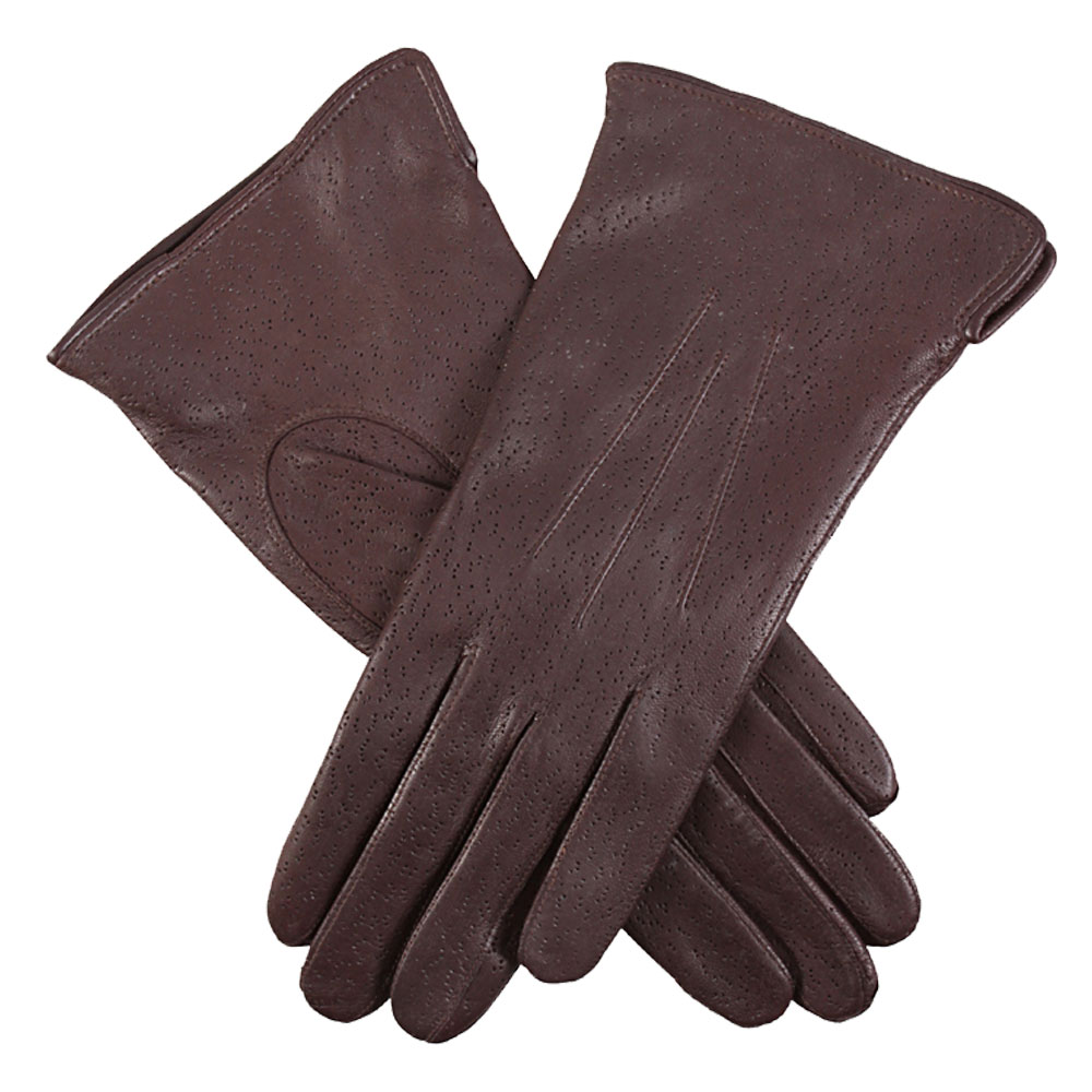 Dents Jessica leather Gloves in dark Brown