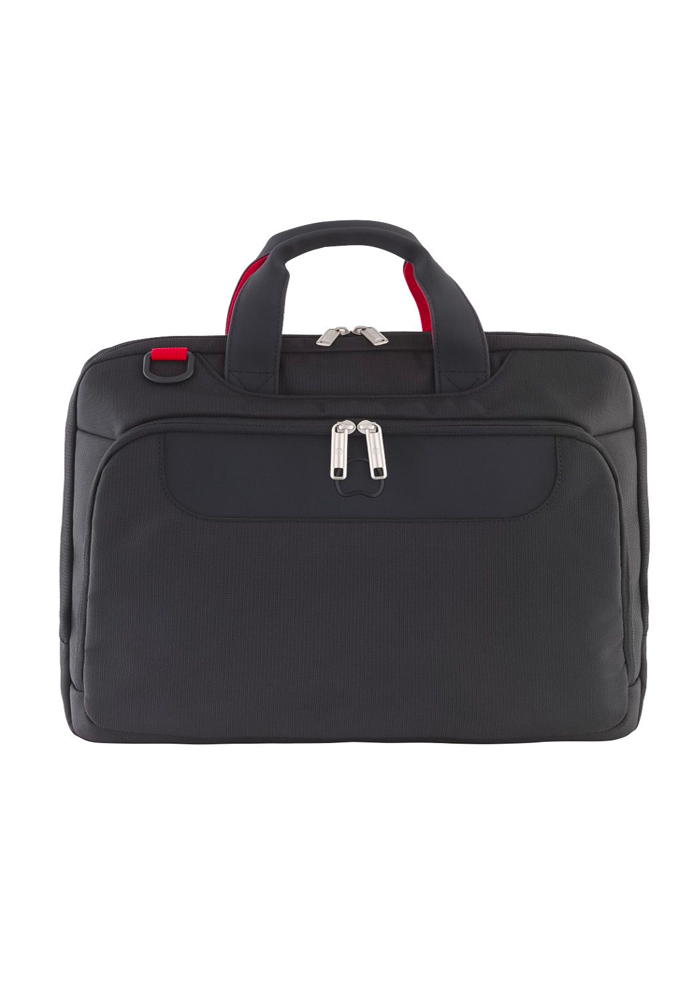 Front View of a Black One Compartment Delsey Pavis Laptop Bag