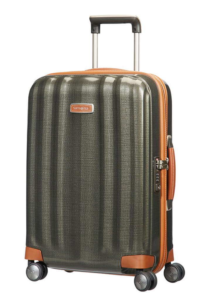 Side angle view Samsonite Lite-Cube DXL 55cm spinner suitcase in the colour olive grey