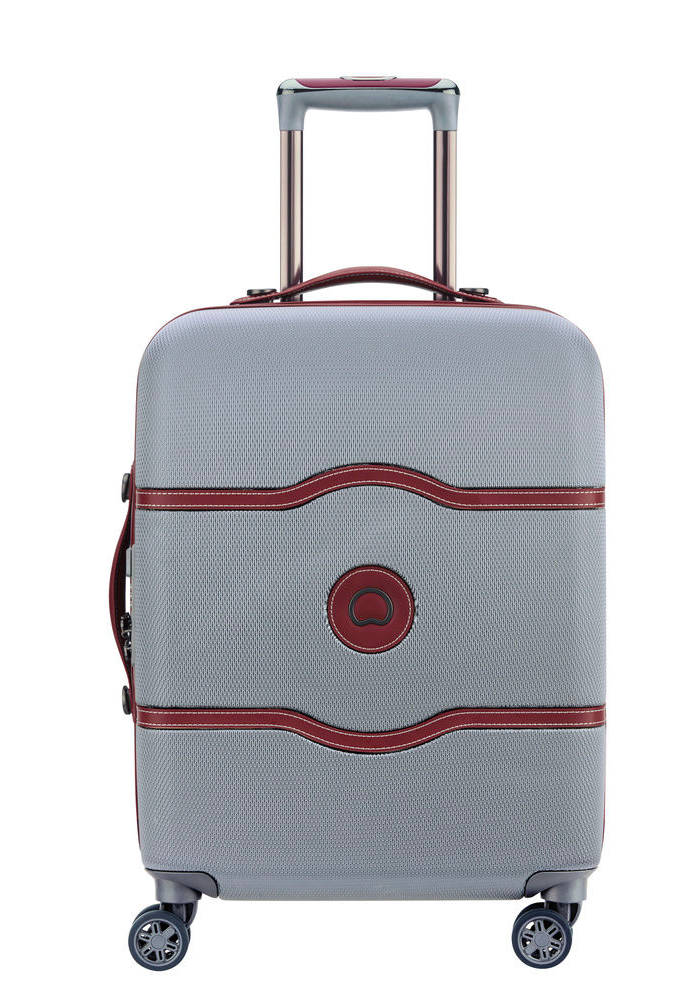 Delsey Chatelet Air 55cm Slim Spinner Suitcase in the colour Silver